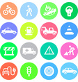 Traffic application icons in color circles vector image