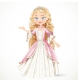 Beautiful young blond princess in a pink dress vector image vector image