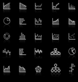 Graph line icons with reflect on black background vector image
