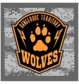 Wolves - military label badges and design vector image
