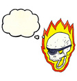 cartoon flaming pirate skull with thought bubble vector image