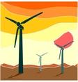 Wind Turbine landscape Wind energy vector image