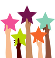 Group of Diversity Hand Holding Colorful Stars vector image