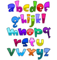 bright cartoon lower case alphabet vector image