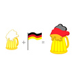 Beer and German flag Mathematical formula beer mug vector image