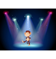 A monkey dancing on the stage with spotlights vector image vector image
