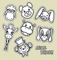 animal stickers4 vector image vector image