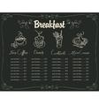 board with a breakfast menu vector image vector image