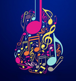 Abstract Guitar and Notes Design vector image