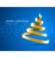 Christmas tree from gold ribbon vector image