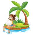 A girl at the island with an empty signage vector image vector image