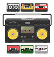 retro record player with stereo cassettes vector image