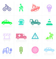 Traffic application icons in color vector image