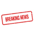 breaking news red square grungy vintage isolated vector image