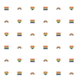 Seamless pattern with rainbow heart and flag for vector image
