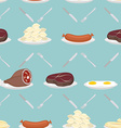 Food from meat seamless pattern Ham and steak vector image