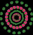 Frame of watermelon and raspberry vector image