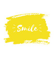 smile hand paint yellow watercolor texture vector image