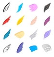 Wings icons set isometric 3d style vector image