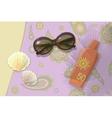 Beach travel to sea Sunblock shells sunglasses vector image
