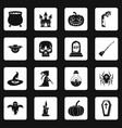 halloween icons set squares vector image