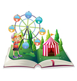 An open storybook with a carnival and a young boy vector image vector image