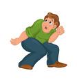 Cartoon man in green top with bent knees scared vector image