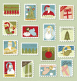 Large Set of Christmas Postage stamps vector image vector image