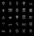 Security line icons with reflect on black vector image