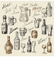 hand drawn beverages sketch vector image