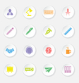 colorful flat icon set 8 on white circle button wi vector image