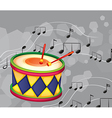 A drum with musical notes vector image