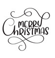 merry christmas calligraphy text on white vector image