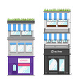 Multi-storey building with roof terrace and shop vector image