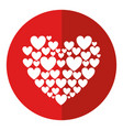 red hearts love shadow vector image