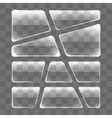Transparent glass plates set on a gray background vector image