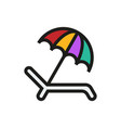 umbrella recliner icon on white background vector image