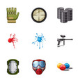 paintball club icons set cartoon style vector image