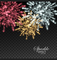 Glowing explode of sparkling particles and stras vector image