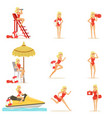 lifeguard woman character doing his job water vector image
