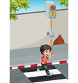 A boy running while crossing the street vector image