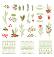 Set of Christmas graphic elements and ornaments vector image vector image
