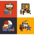 Cinema design concept flat icons set vector image
