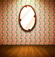 Vintage room with mirror and floral wallpaper vector image