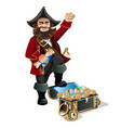 treasure chest and pirate vector image