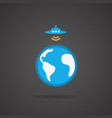 Ufo earth icon on black background vector image