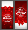 Christmas cards with red bows vector image