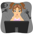 Little girl watching horror movie on internet vector image