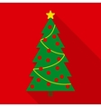 Christmas Tree with Decor in Flat Style vector image