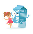 cute little girl and funny milk carton box with vector image